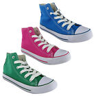 WOMENS CANVAS HI-TOP CASUAL LACE PUMPS SNEAKERS TRAINERS PLIMSOLLS SHOES UK 3-9