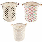 Collapsible Canvas Fabric Laundry Bin Hamper - Festivals Camping Clothes Basket