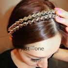 Punk Rock Vintage Women Unisex Rivet Spikes Studs Hairband Headband Siver Gold
