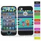 Cute Owl Butterfly Hybrid Rugged Armor Impact Phone Case Cover For iPhone 4 4S
