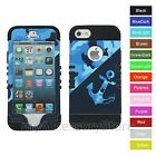 For iPhone SE, 5s, 5 Blue Anchor Camo Hybrid Hard&Rubber Rugged Armor Case Cover