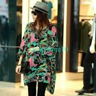 Fashion Women Casual Foral Print Chiffon Batwing Sleeve Loose T Shirt Blouse Top