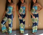 STRAPLESS NAVY BLUE HIPPIE 70s TRIBAL TUBE TOP TALL PALAZZO PANTS JUMPER S M L