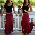 FOLD OVER WAIST RED WINE NAVY BLACK STONE TIE DYE LONG MAXI KNIT SKIRT S M L