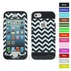 For IPHONE 5 5S Chevron Wave Pattern Rugged Hybrid Hard&Rubber Phone Case Cover