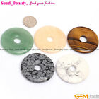 40mm round donut ring gemstone pendant loose beads 1pc ,8 materials selectable