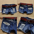 Girls Vintage Retro Women Blue Low Waist Tassel Hole Jeans Denim Shorts Pants
