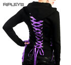 HELL BUNNY Black Hoody Top CORSET Lace Up Goth/Punk Purple All Sizes