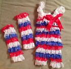 4th Of July Lace Romper Leg Warmer Set USA GIRLS BABY  BOUTIQUE Outfit Red BLue