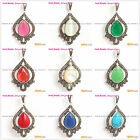 Beauty marcasite silver pendant with 13x18mm drip beads+Free gift box/chain