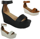 NEW WOMENS LADIES ANKLE STRAP MID HEEL TREAD FLATFORMS PARTY SHOES SANDALS SIZE