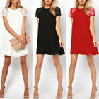 Womens Loose Casual Lace Splice Chiffon Short Sleeve Club Cocktail Party Dress