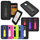 For ZTE Warp 4G N9510 Impact Stand Hybrid Hard Soft Case