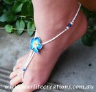 Beach Bridal Barefoot Sandals CAPRI BLUE Frangipani flower foot jewellery 1 pair