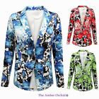 LADIES WOMENS FLORAL PRINT ONE BUTTON FRONT BLAZER CASUAL SUMMER FASHION JACKET