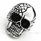 316L Stainless Steel Men's Punk Gothic Cracked Evil/Ghost Skull Rings Size 9-13