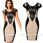 Sexy Women Lace Flower Short Sleeve Slim Bodycon Party Cocktail Evening Dress