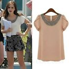 Office Beaded Tops Chiffon Blouse Loose T Shirt Summer Womens Sheer Top sz 14-6