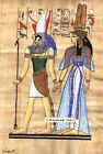"Egyptian Papyrus Painting -  Horus and Nefertary 8X12"" + Hand Painted #52"