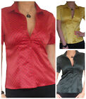 Ladies Blouse Shirt Tops Short Sleeve Long Womens New Top Size 10 12 14 16 18 20