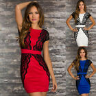 Bodycon Cocktail Party Prom Lace Crochet Wedding Bridesmaid Pencil Short Dress