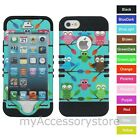 For iPhone 5 5S Colorful Owls Design Hybrid Rugged Impact Armor Phone Case Cover