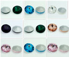 5pcs Round Gem Crystal rhinestones Silver Bottom beads 18mm Multicolor