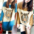 Womens Batwing Sleeve Tiger pattern Sweater Top Jumper Pullover AU SELLER T078