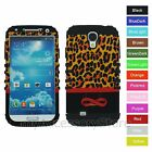 Samsung Galaxy S4 Infinity Leopard Cheetah Hybrid Rugged Impact Phone Case Cover