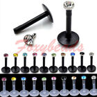 10X Black White 16G CZ Crystal Gem Labret Monroe Lip Ring BIOFLEX Bar Piercing