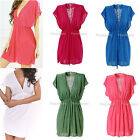 Sexy Women Deep-V Neck Beach Summer Wear Swimwear Bikini Cover Up Shirt Dress