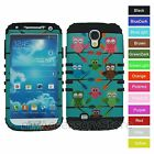 For Samsung Galaxy S4 Colorful Owl Hybrid Rugged Impact Armor Phone Case Cover
