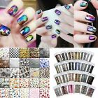 24Styles Nail Art Tips Foil Wraps Transfer Paper Glitter Sticker Decal Decor DIY