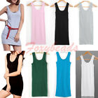 Candy Colors Lady Sleeveless T-Shirt Long Tank Top Waistcoat Skinny Vest Dress