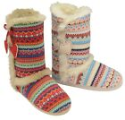 LADIES SLIPPERS BOOTS WOMENS ANKLE WINTER WARM FUR FAIR ISLE AZTEC BOOTIES SIZE
