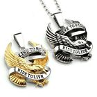 Punk 316L Stainless Steel Live to Ride Eagle Motorcycle Biker Pendant Necklace