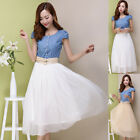 Womens Denim Tops Scoop Collar Chiffon Solid Casual Summer Tunic Tiered Dress