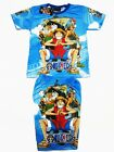 One Piece Animation Luffy Boy Outfit T-Shirt+Shorts #093 Blue Size 4-10 age 3-10