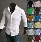 Jeansian Mens Dress Casual Shirts Tops Business Formal Slim 10 Color 5 Size