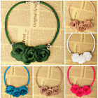 Fabric Rose Flower Cord Beaded Collar Bib Statement Choker Pendant Necklace Z297