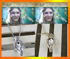 The Hobbit Phial Of Galadriel Necklace Silver/Golden Tone Crystal Pendant Jf469