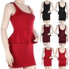 Solid Sleeveless Square Neck Peplum Dress with V Shaped Zippered Back S M L