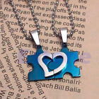New Gift Men Women Couple Love Heart Puzzle Stainless Steel Pendant Necklace