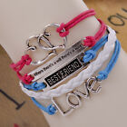 vogue heart shape multilayer leather weaves charm jewelry infinity bracelet