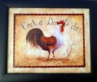 2 Rooster Chicken Art Prints Posters Backyard King Tan 8x10 Framed Mounted