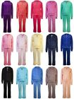 Childrens Velour Tracksuits Girls Hooded Tops Dance Tracksuit Bottoms Age 2 - 13