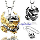 Punk Cool Stainless Steel Eagle Live to Ride Motorcycle Biker Pendant Necklace