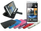 Leather Wallet Case Stand with Soft TPU for HTC One