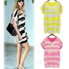 Stripes Print Tee Long Top Tunic Dress V Neck Blouse Ladies T Shirt Size 16-8