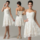2014 New Ivory Short Cocktail Bridesmaid Lace+Satin Party Formal Casual Dresses
